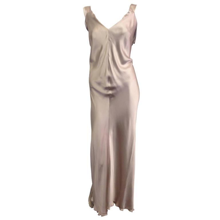 542be2ff4d50c Alberta Ferretti Silver Satin Slip Dress at 1stdibs