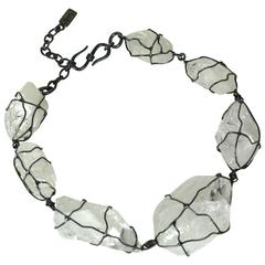 YSL Gunmetal Wrapped Rock Crystal Necklace
