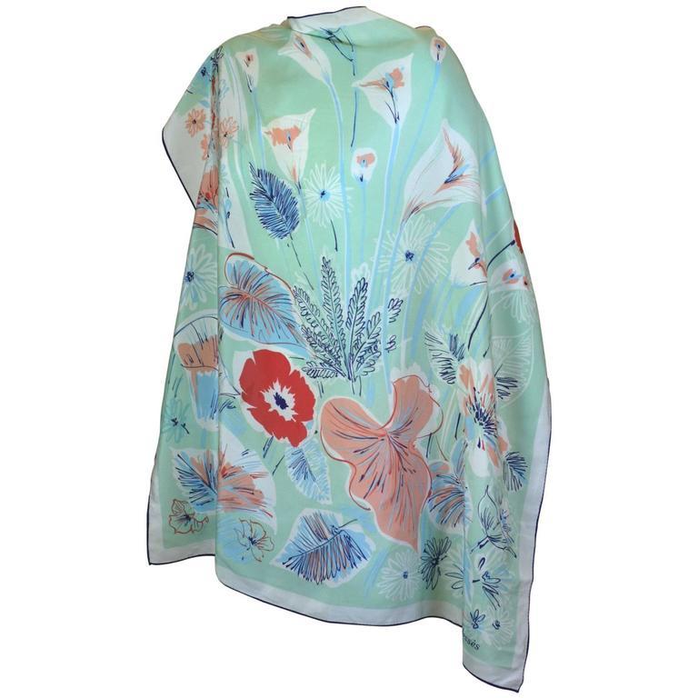 Jean Desses Floral Silk Scarf
