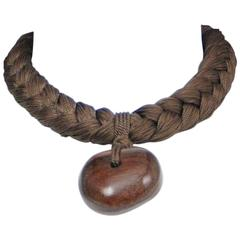 Yves Saint Laurent Olive and Braid Wood Choker