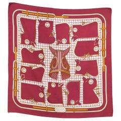 1974 Hermes Camails Designed by Francoise de la Perriere Silk Scarf