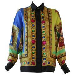 Iconic Gianni Versace Le Madonne Printed Silk Shirt Fall 1991