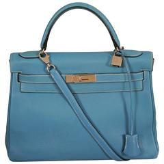 Hermes Blue Kelly Bag, 32cm