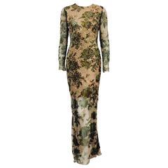 Oscar de la Renta Long Sleeve Embroidered Floral Silk Evening Dress