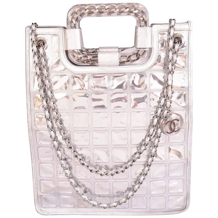 06367e8edcfe Chanel Silver Leather and Lucite Ice Cube Bag at 1stdibs