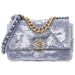 Chanel Light Blue Sequin Quilted Medium 19 Flap