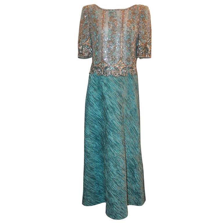 Mary McFadden Light Blue Short Sleeve Gown w/ Heavily Beaded Bodice - circa 80's