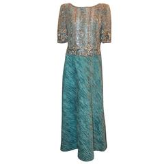 Mary McFadden Light Blue Short Sleeve Gown w/ Heavily Beaded Bodice - circa 80's