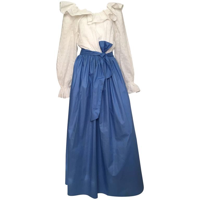 18180ced0d Bill Blass 1980s Maxi Cotton Dress Size 8   10. For Sale at 1stdibs