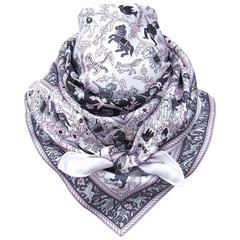 Hermes Silk Scarf Chasse en Inde White Pink Grey 90 cm