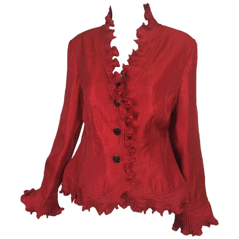 Victor Costa shimmery red evening jacket with pleated ruffle trims