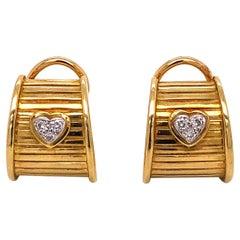 Signed Diamond Heart Designer DKW 18K Yellow Gold French Clip-on Earrings