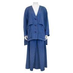 1990s Issey Miyake Blue Cotton Oversize Ensemble