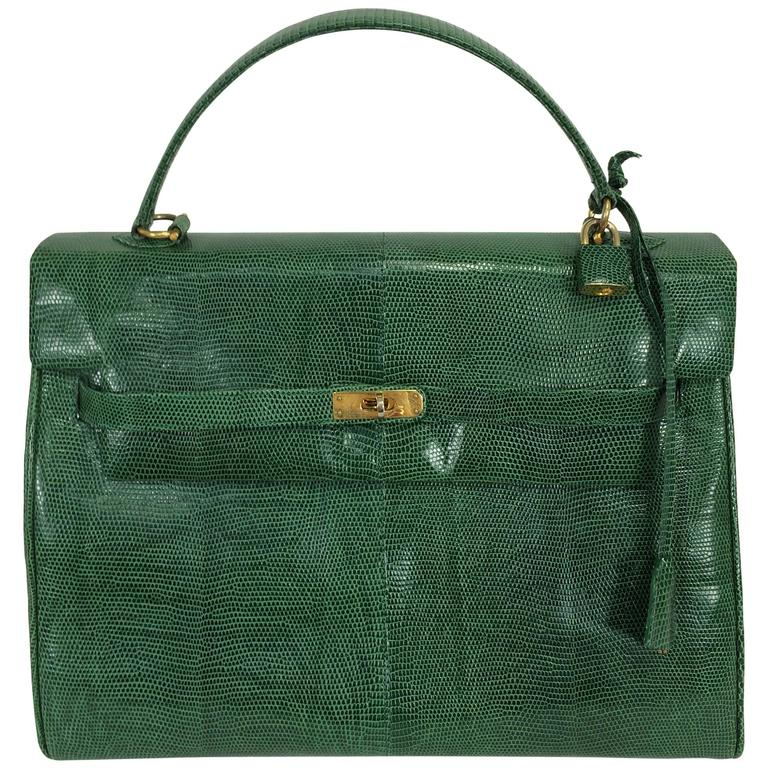 Luc Benoit green glazed lizard Kelly style handbag gold hardware 1990s
