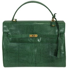 Luc Benoit green glazed lizard Kelly style handbag gold hardware 1990s