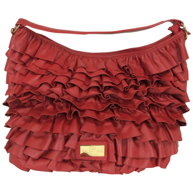 Valentino large red leather ruffle shoulder bag