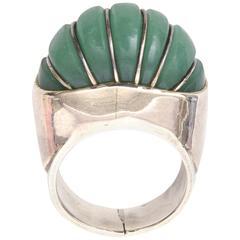 Hallmarked Sculptural Sterling Silver And Jade Dome Ring