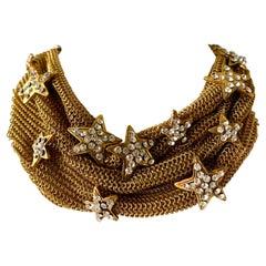 Christian Lacroix Gilt Star Diamante Statement Necklace