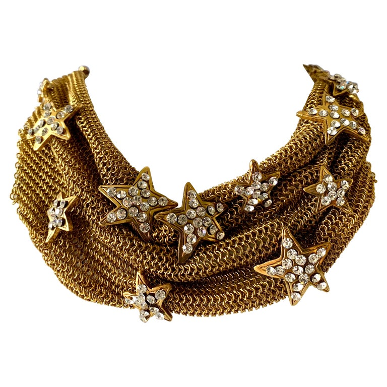 Christian Lacroix Gilt Star Diamante Statement Necklace  For Sale