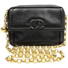 Chanel Vintage Camera Bag- Black Caviar Leather with gold
