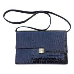 Exceptional Hermès Vintage Padlock Purse Clutch Bag Shiny Brown Crocodile Ghw