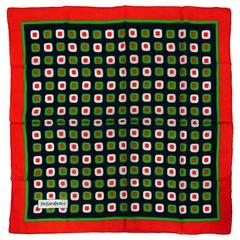 "Yves St Laurent Boldly Graphic cotton scarf ""olives""  26"" x 26"" 1970s"