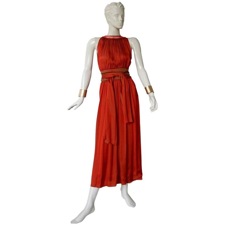 Jean Paul Gaultier Diaphanous Cayenne Silk Obi Belt Maxi Dress For Sale