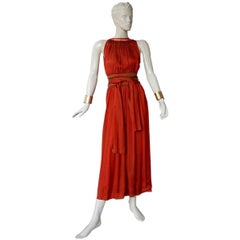 Jean Paul Gaultier Diaphanous Cayenne Silk Obi Belt Maxi Dress  New