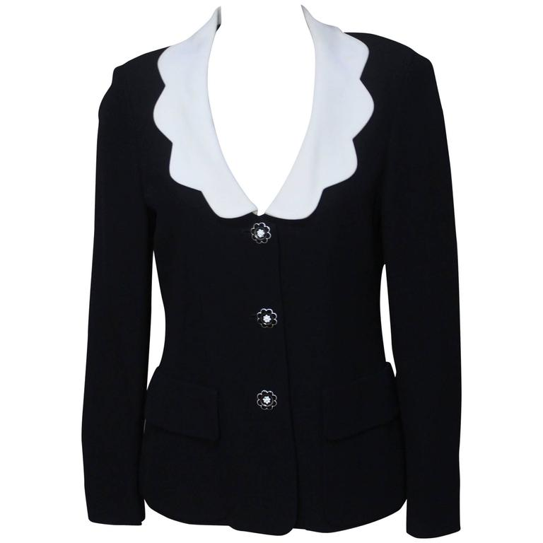 Moschino Scalloped Collar Jacket with Daisy Buttons
