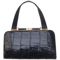 Sleek Ebony Alligator Vintage Handbag ca 1960