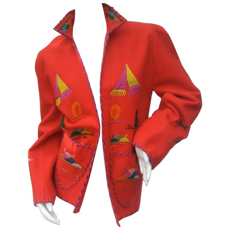 Mexican Red Felt Wool Embroidered Jacket ca 1950s  For Sale