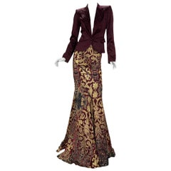 2004 Vintage Roberto Cavalli Evening Long Skirt and Blazer Set