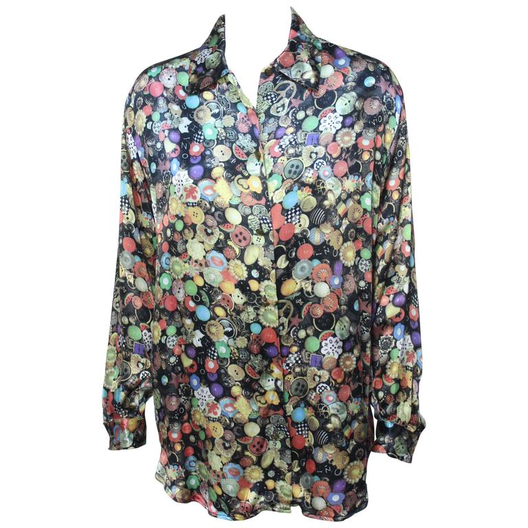 Moschino Photo Print Button Blouse