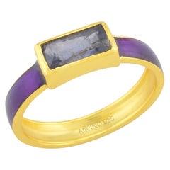 Iolite Enamel Ring