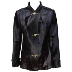 Vintage Custom Made Pony Skin Jacket with Architectural Fastenings
