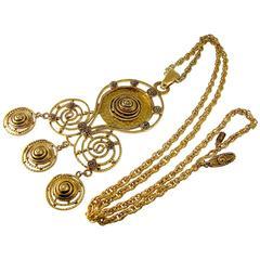 Yves Saint Laurent Large Byzantine Pendant Necklace Gilt Statement Piece YSL 70s