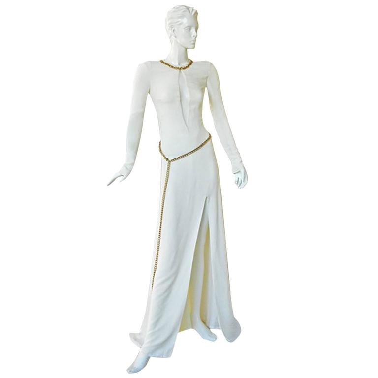 Alexander McQueen 2006 Winter White Thigh High Slit Dress Gown  For Sale