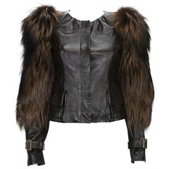Tom Ford for Gucci Fall 2003 Fox Fur Leather Brown Jacket 38