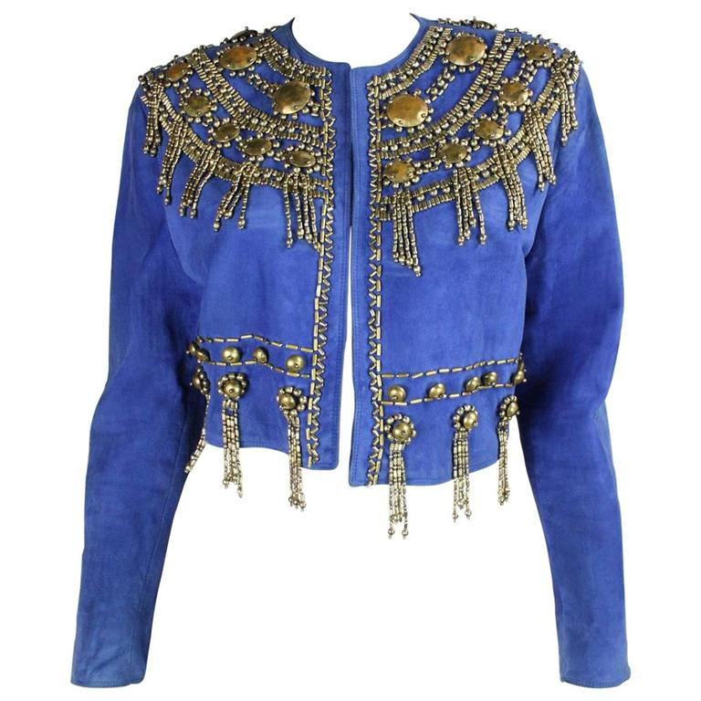 1990 S Gianni Versace Beaded Blue Suede Jacket For Sale At