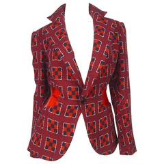 Comme des Garcons 2000's Red/Navy Geometric Woven with Plastic Blazer