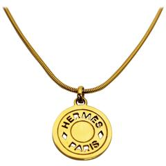 1990's Hermes Gold Coin Pendant Necklace