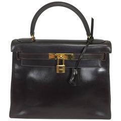 Hermes 28cm chocolate brown box calf Kelly handbag gold hard ware 1978