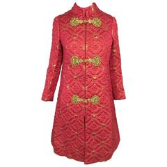 Rare Oscar de la Renta red & gold metallic brocade dress & coat set mid 1960s