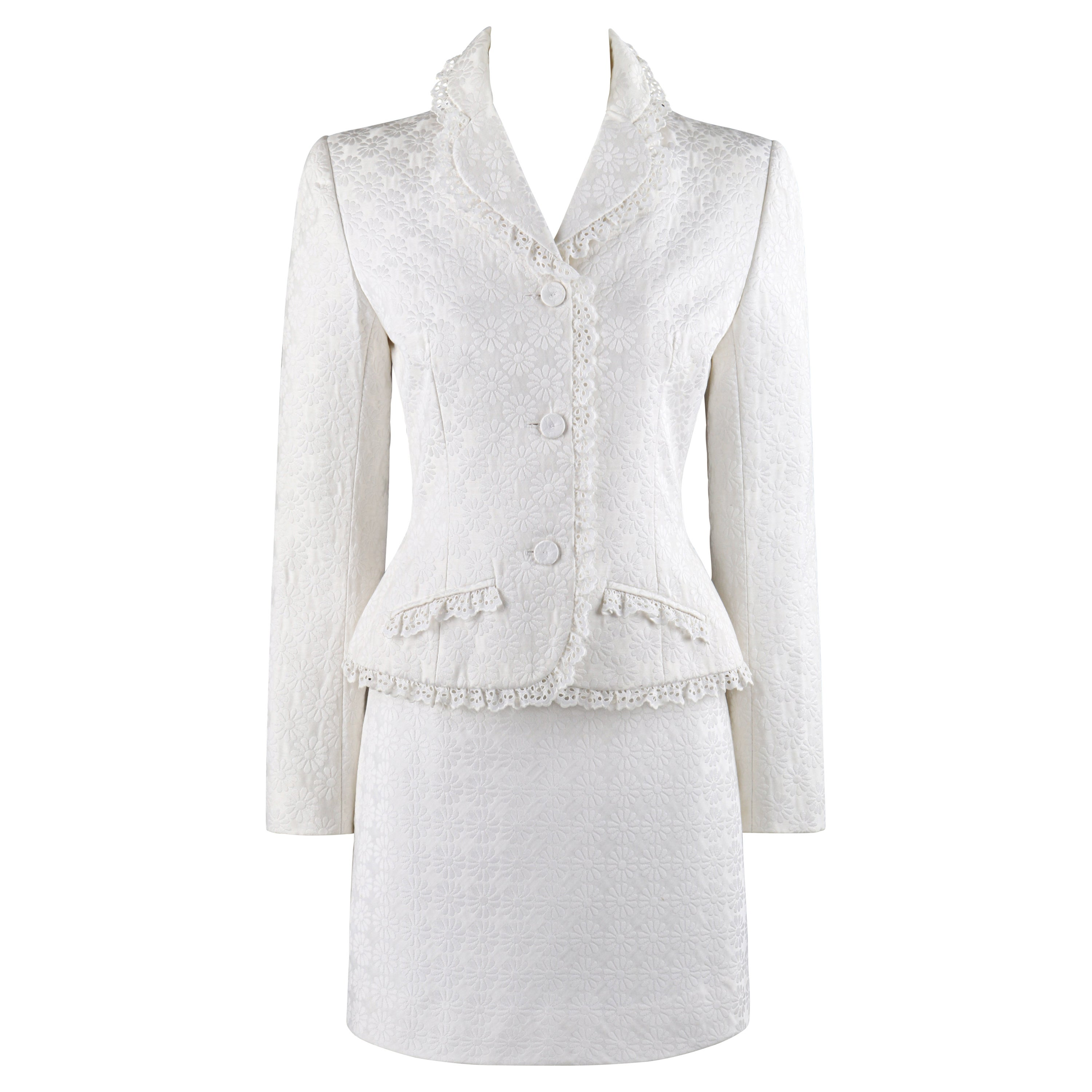 GIVENCHY A/W 1996 JOHN GALLIANO White Floral Brocade Lace Skirt Suit Blazer Set