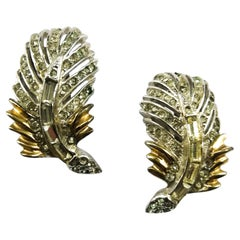 Gilt metal and paste 'feather' earrings, Reja, USA, 1950s