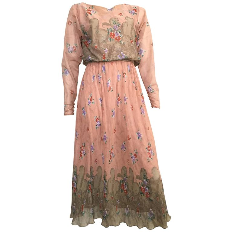Neiman Marcus Floral Asian Dress Size 4