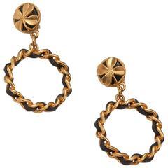 Chanel Four-Leaf Clover Clip-On Hoop Earrings
