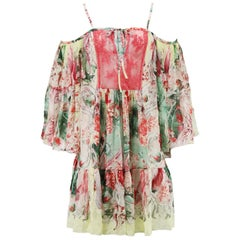 Roberto Cavalli Cold Shoulder Lace Pneled Printed Silk Mini Dress IT 42 UK 10