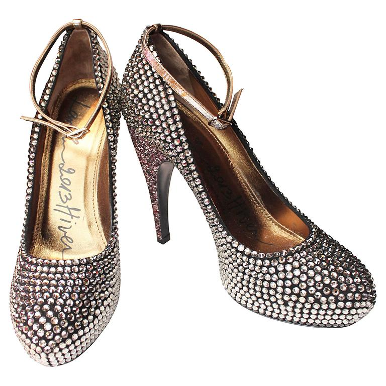 2013 Lanvin Platform Pumps with Grey and Pink Crystals