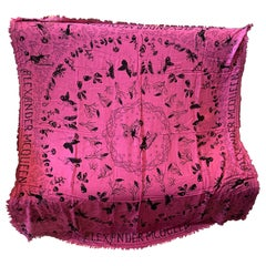 An Alexander McQueen Never Worn Italian Pink Shocking and Black Scarf